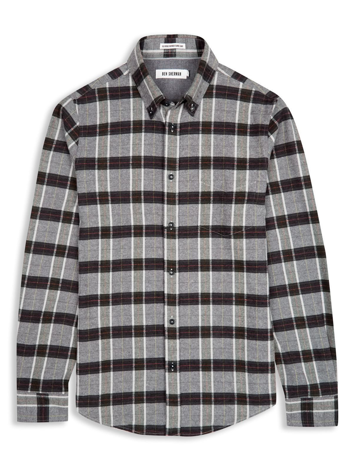 Ben sherman brushed flannel twill tartan check shirt in for Brushed cotton twill shirt