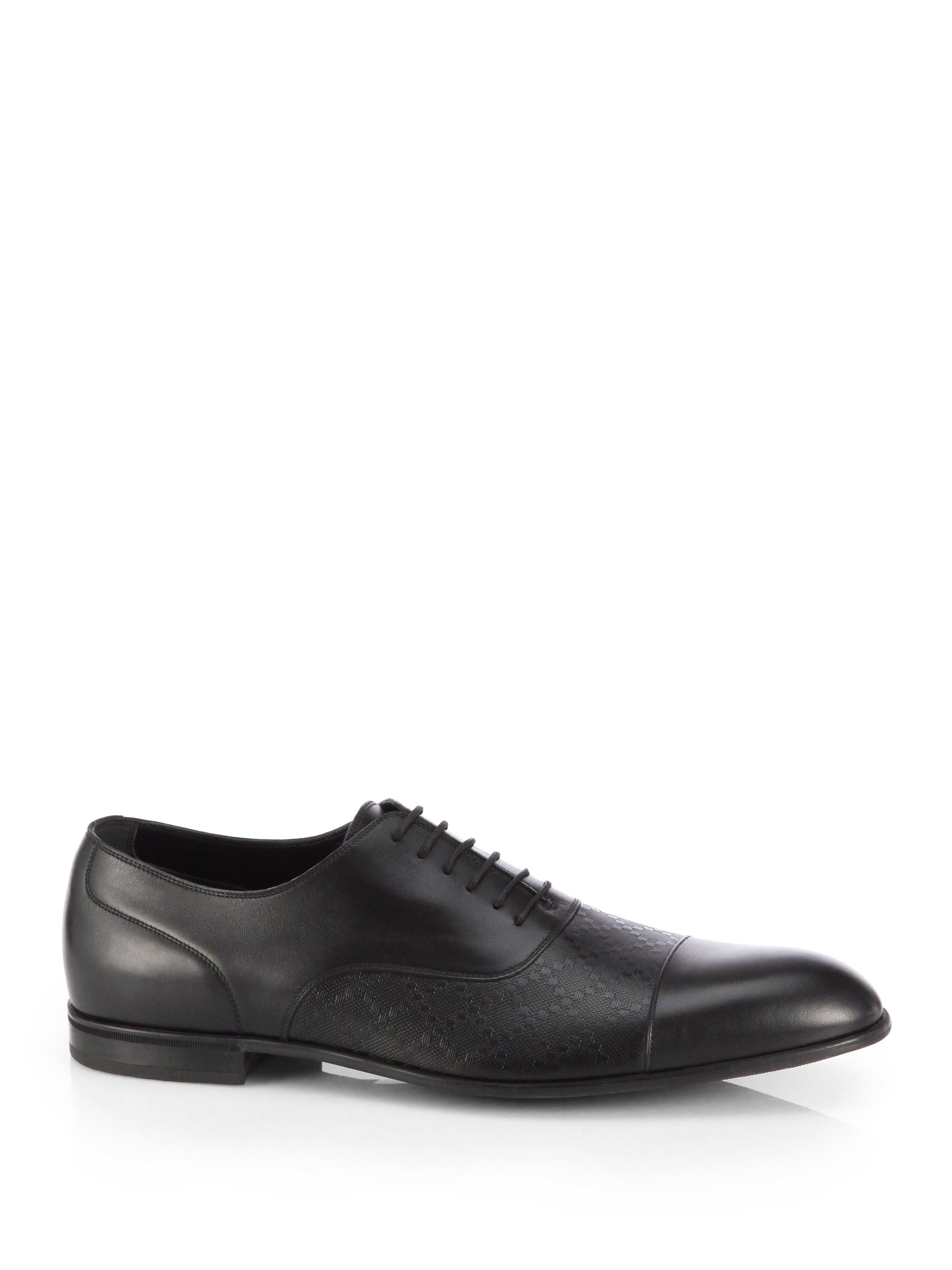 gucci diamante leather lace up shoes in black for lyst