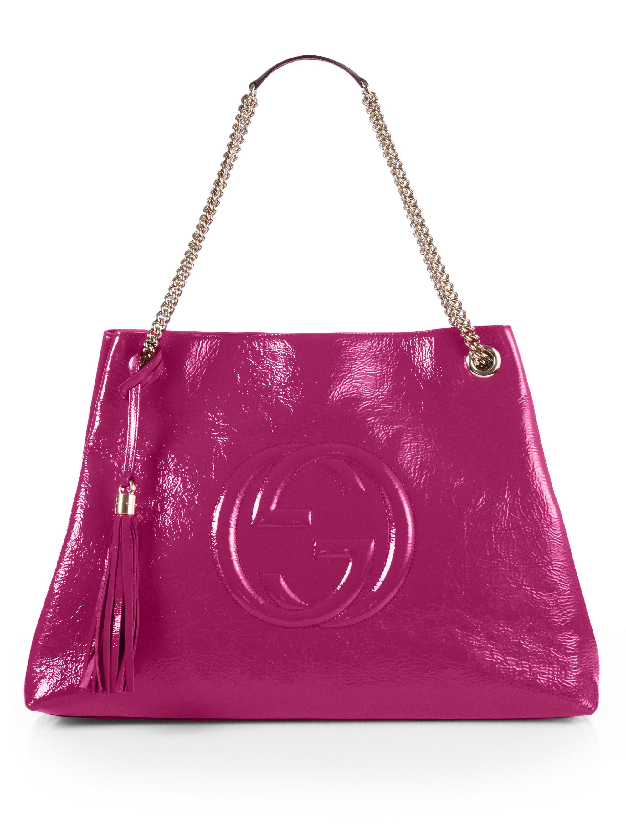 Gucci Soho Patent Leather Shoulder Bag in Pink (BRIGHT PINK)  Lyst