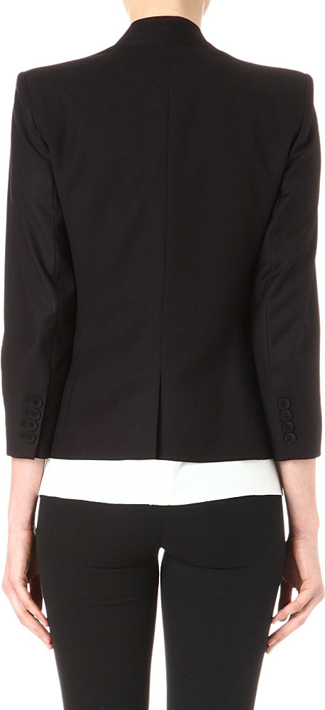 Helmut Lang Single Breasted Collarless Blazer in Black