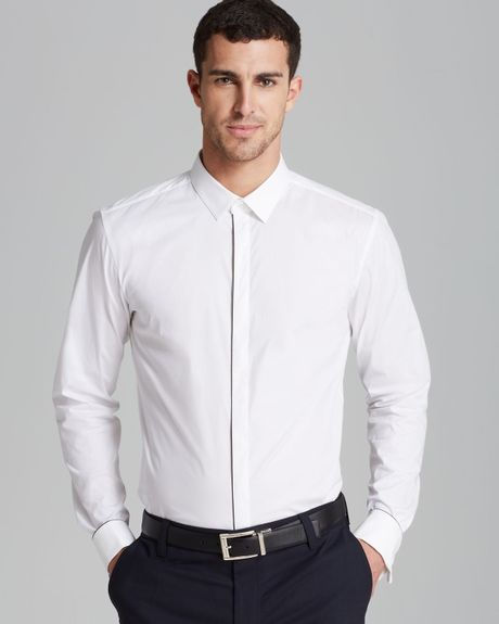 Hugo boss black white jason woven shirt male models picture for Hugo boss jason shirt