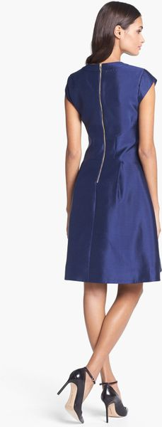 Kate Spade Vail Silk Blend Fit Flare Dress In Blue French