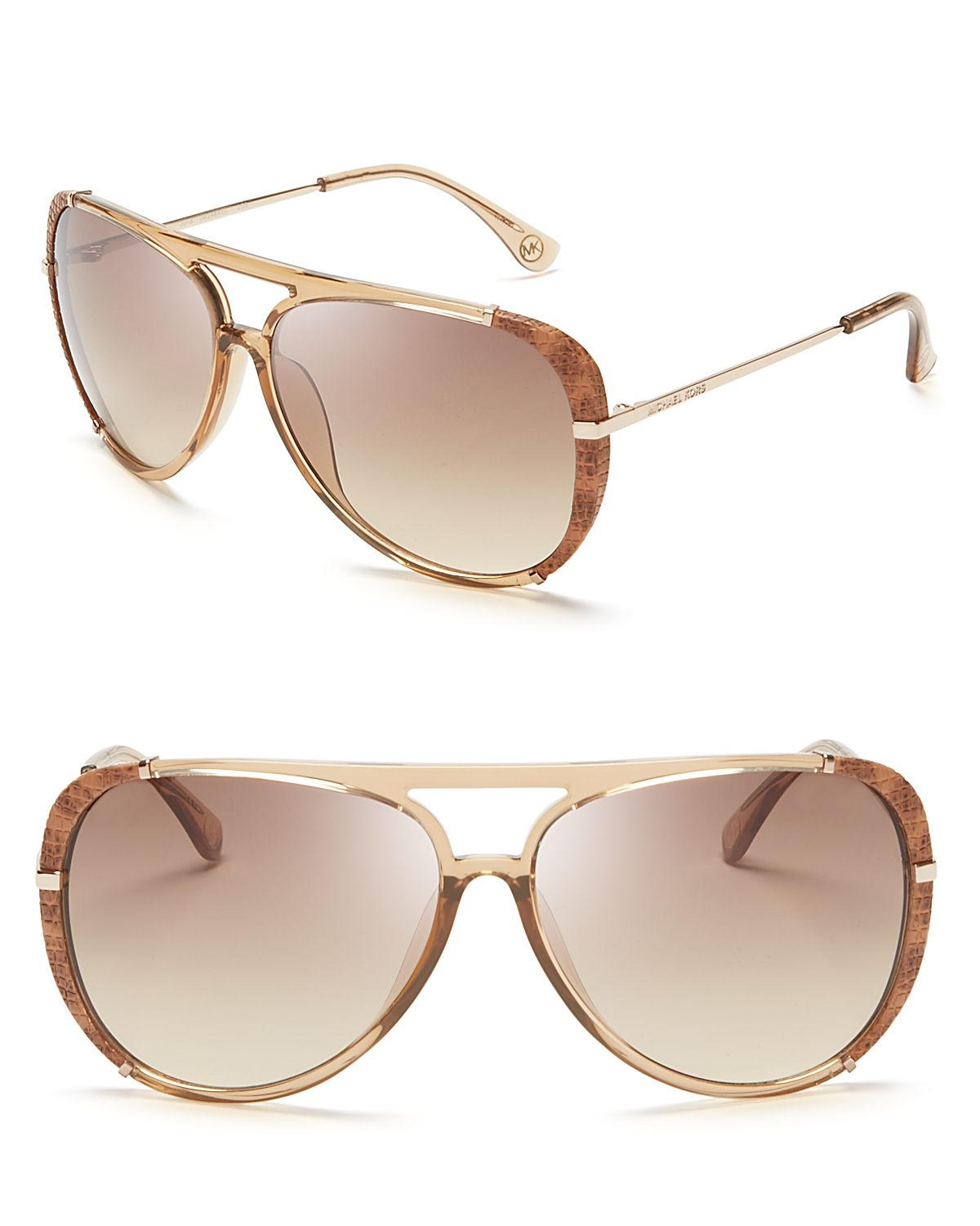 4eada07d7f7a Michael Kors Julia Aviator Sunglasses in Natural - Lyst