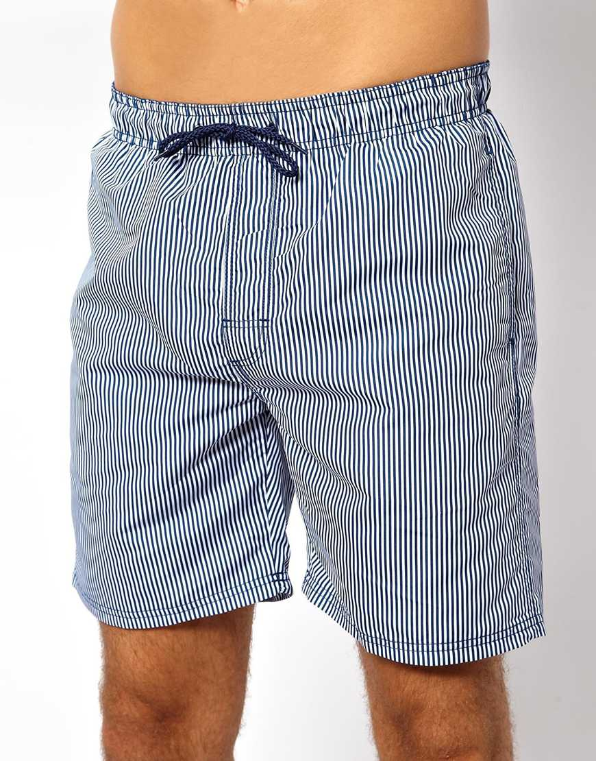 d846c057c4599 Lyst - Persol New Look Swimshorts with Ticking Stripe in Blue for Men