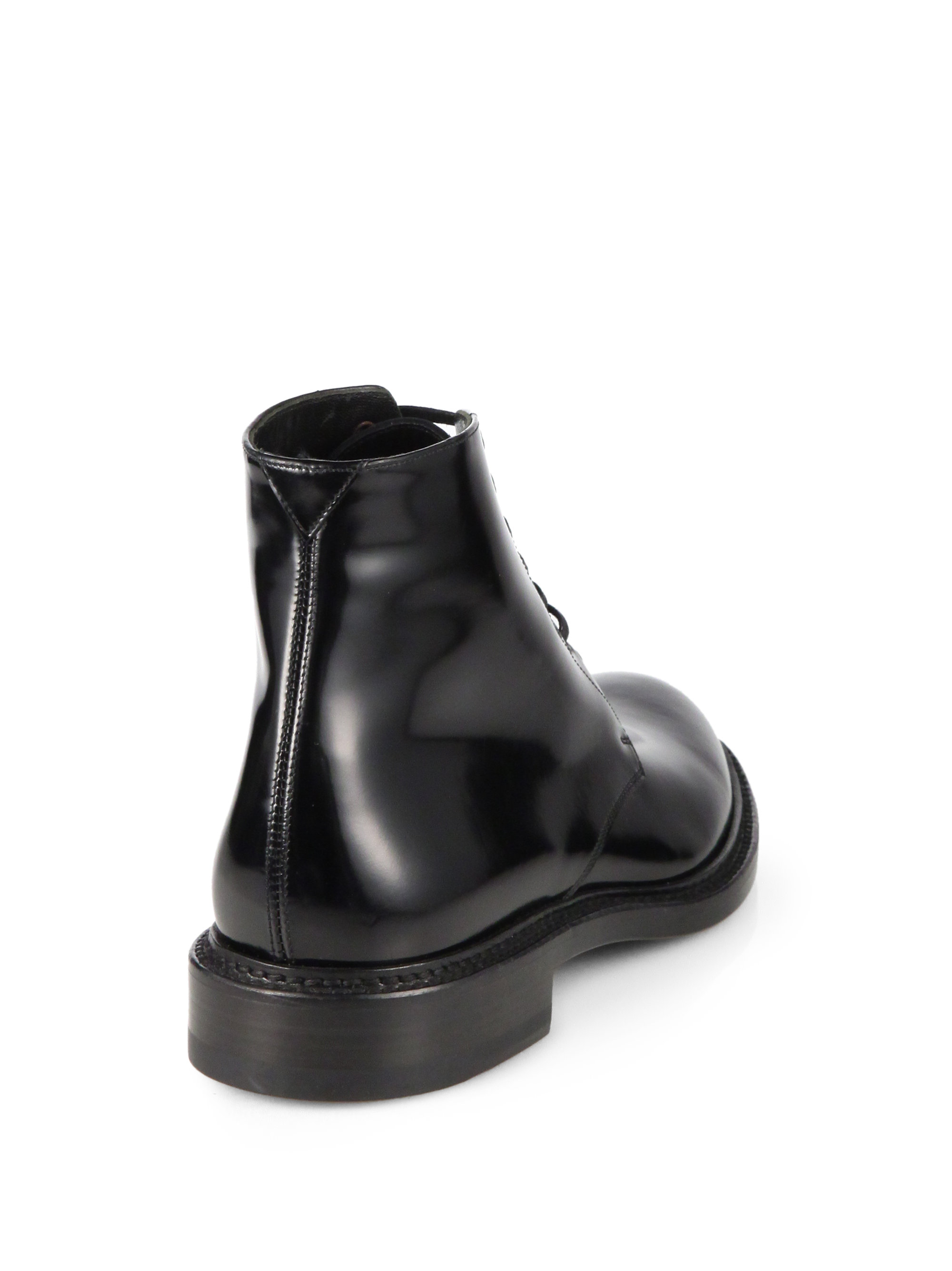 450561947b6 Saint Laurent Army Patent Leather Laceup Ankle Boots in Black - Lyst