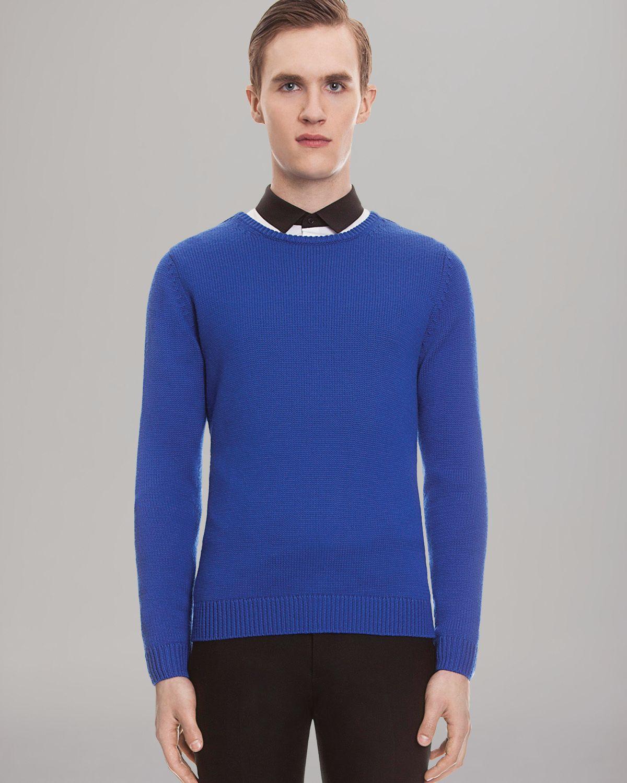 Sandro Solid Merino Sweater in Blue for Men | Lyst