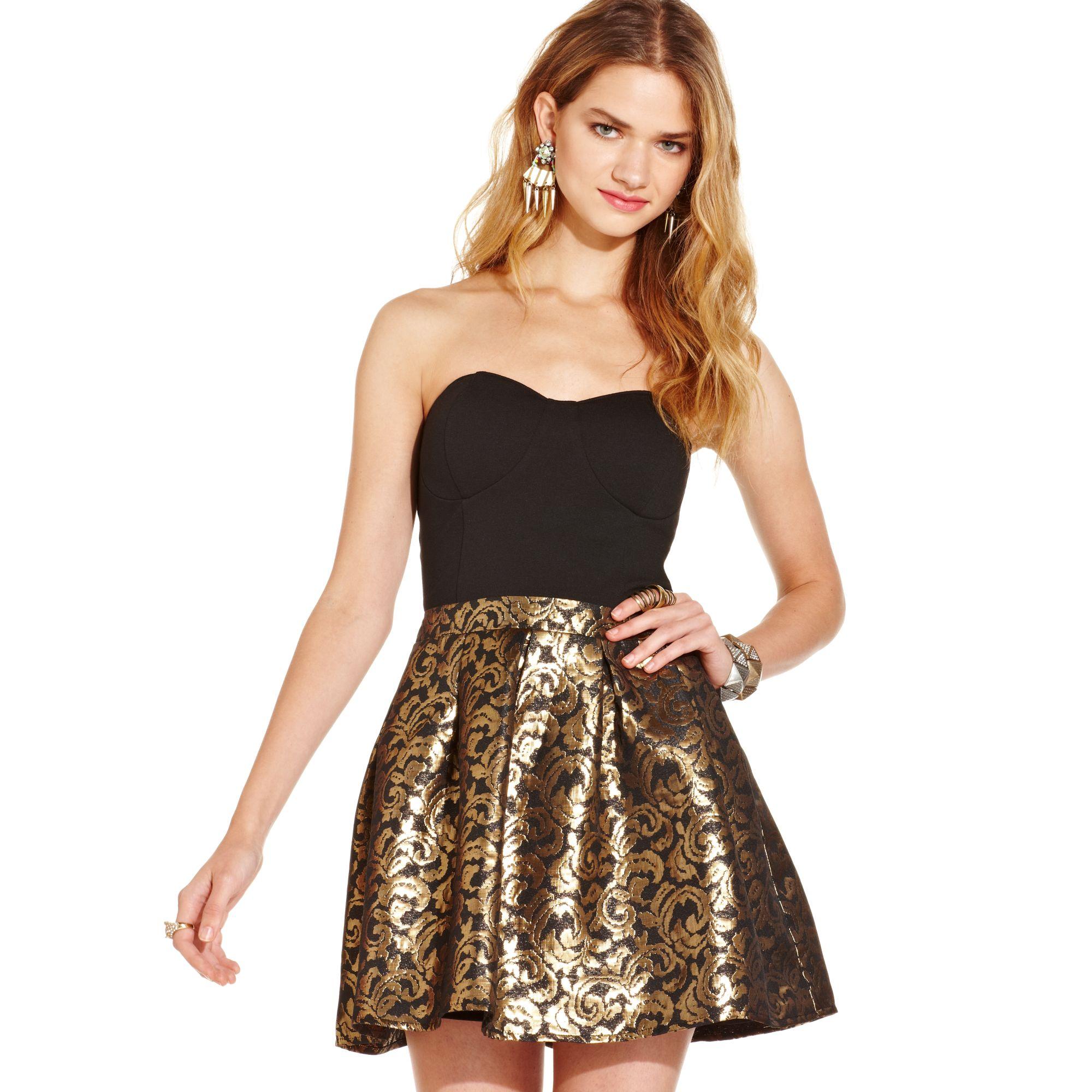 Macy S Dress In Black Gold Metallic Lyst