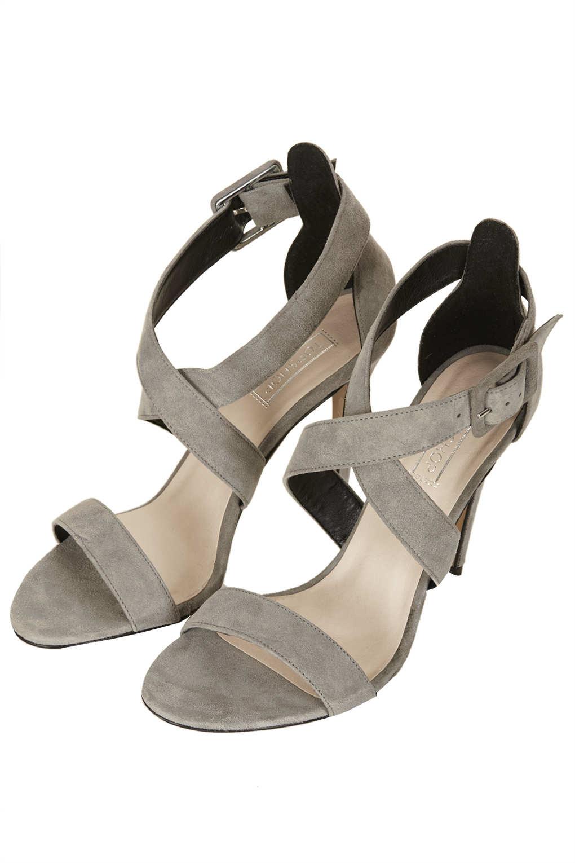 Lyst Topshop Rustle Suede Strappy Heels In Gray
