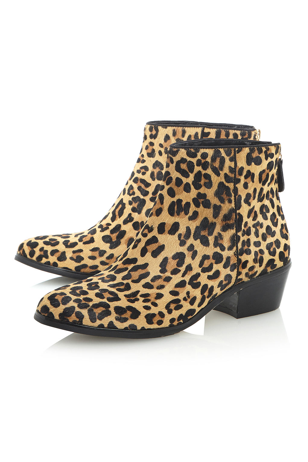 Topshop Peopard Pony Leopard Print Ankle Boots By Dune