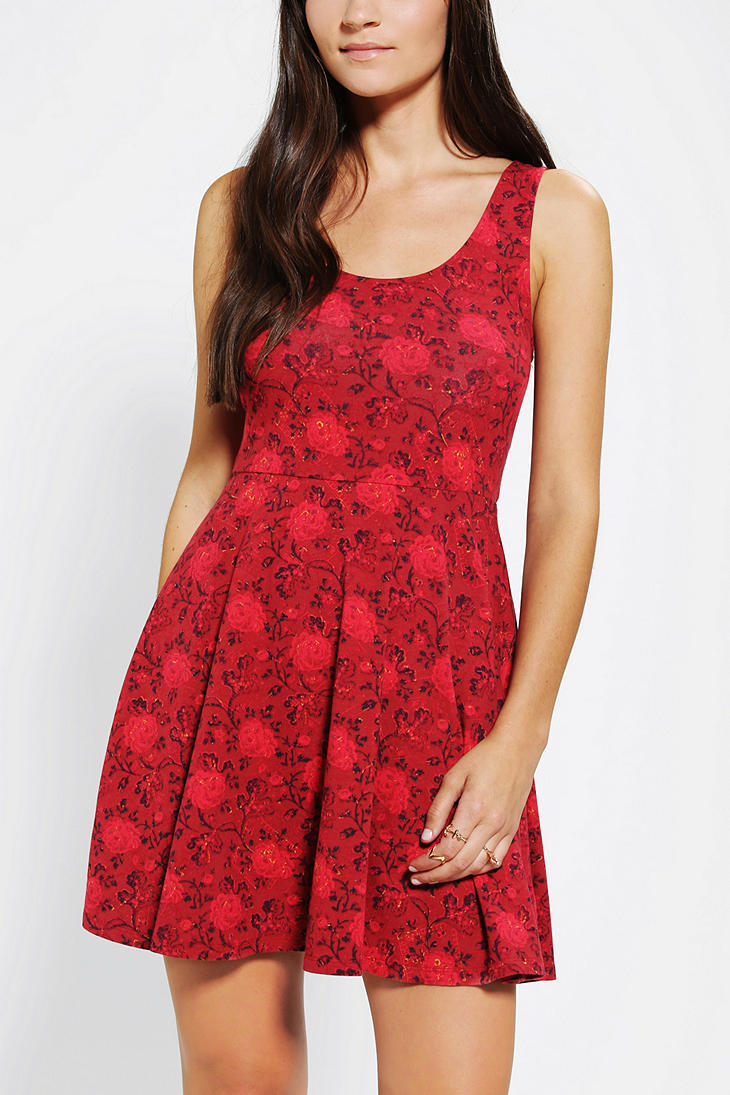 Urban Outfitters Ecote Boho Print Knit Skater Dress In
