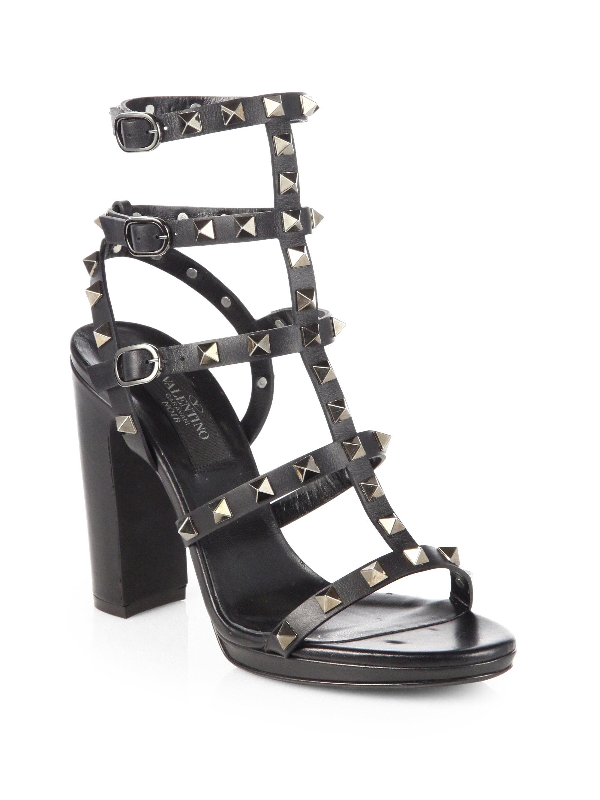 valentino noir rockstud leather sandals in black lyst