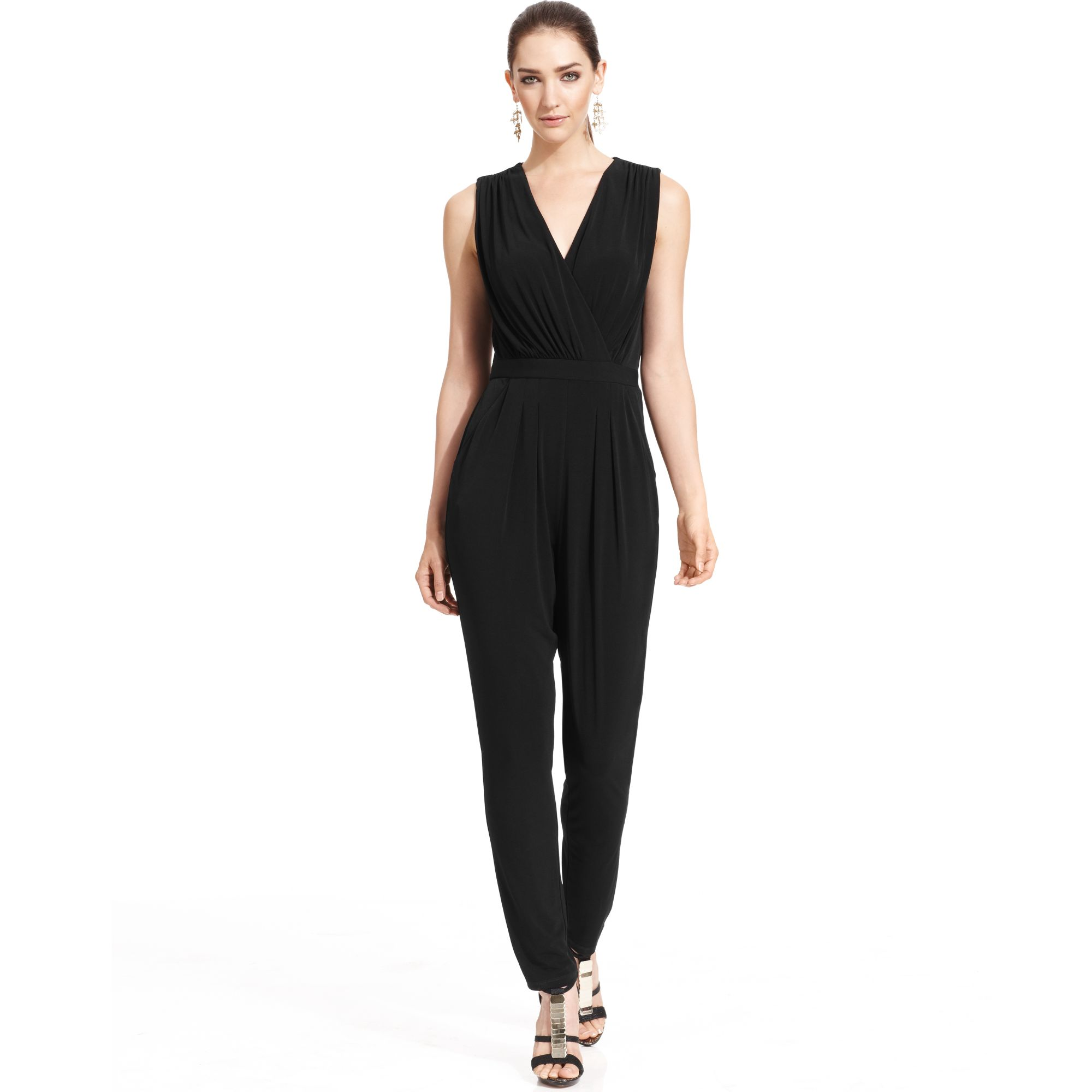 Lyst Vince Camuto Sleeveless Faux Wrap Jumpsuit In Black