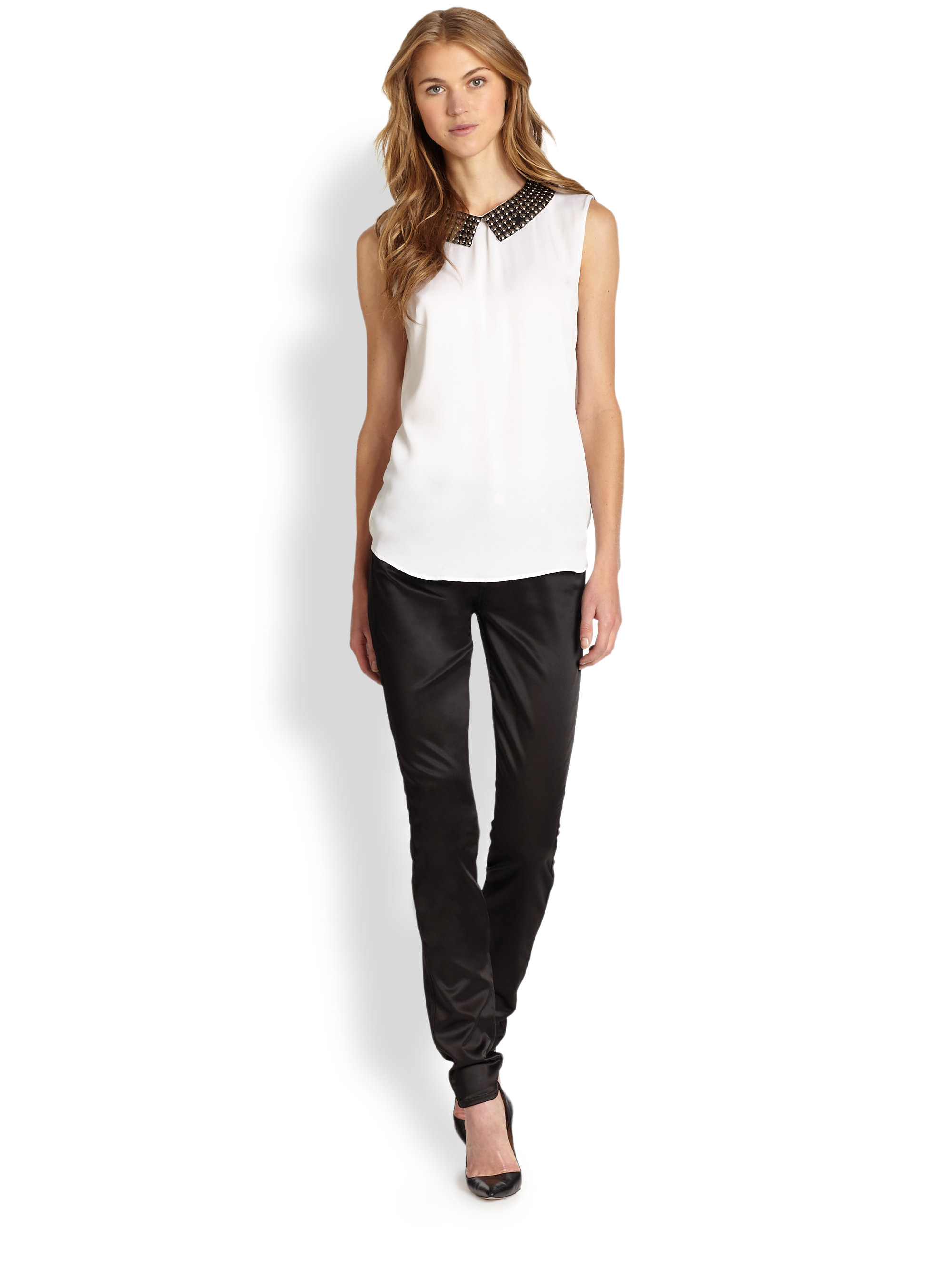 7 for all mankind Lux Sateen Skinny Jeans in Black | Lyst