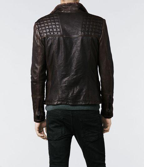 Allsaints Cargo Biker Leather Jacket In Black For Men