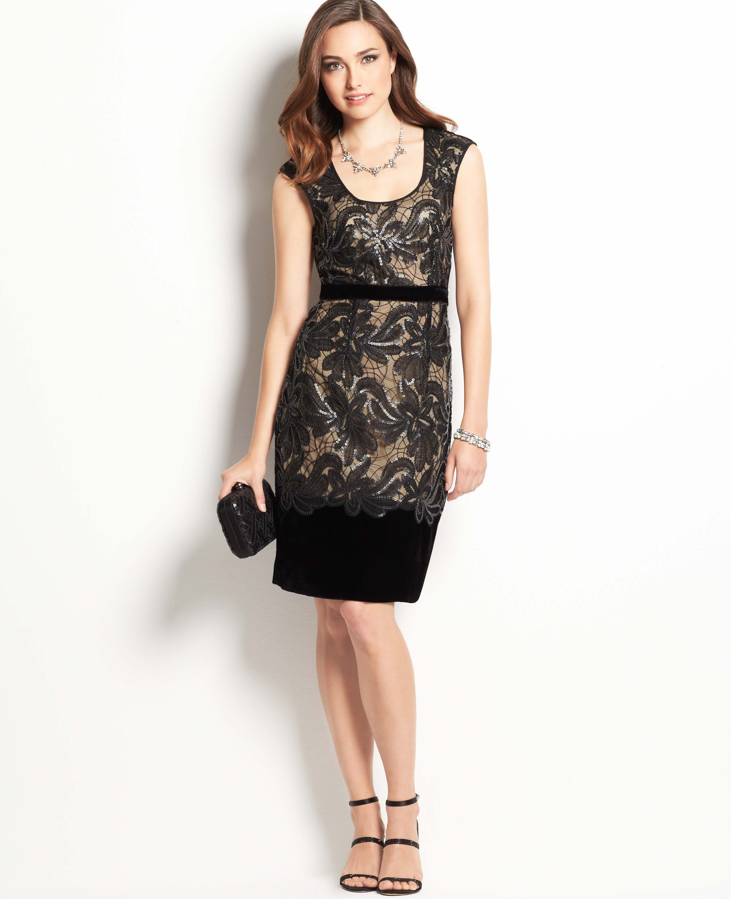 Ann taylor Sequin Lace Dress in Black | Lyst
