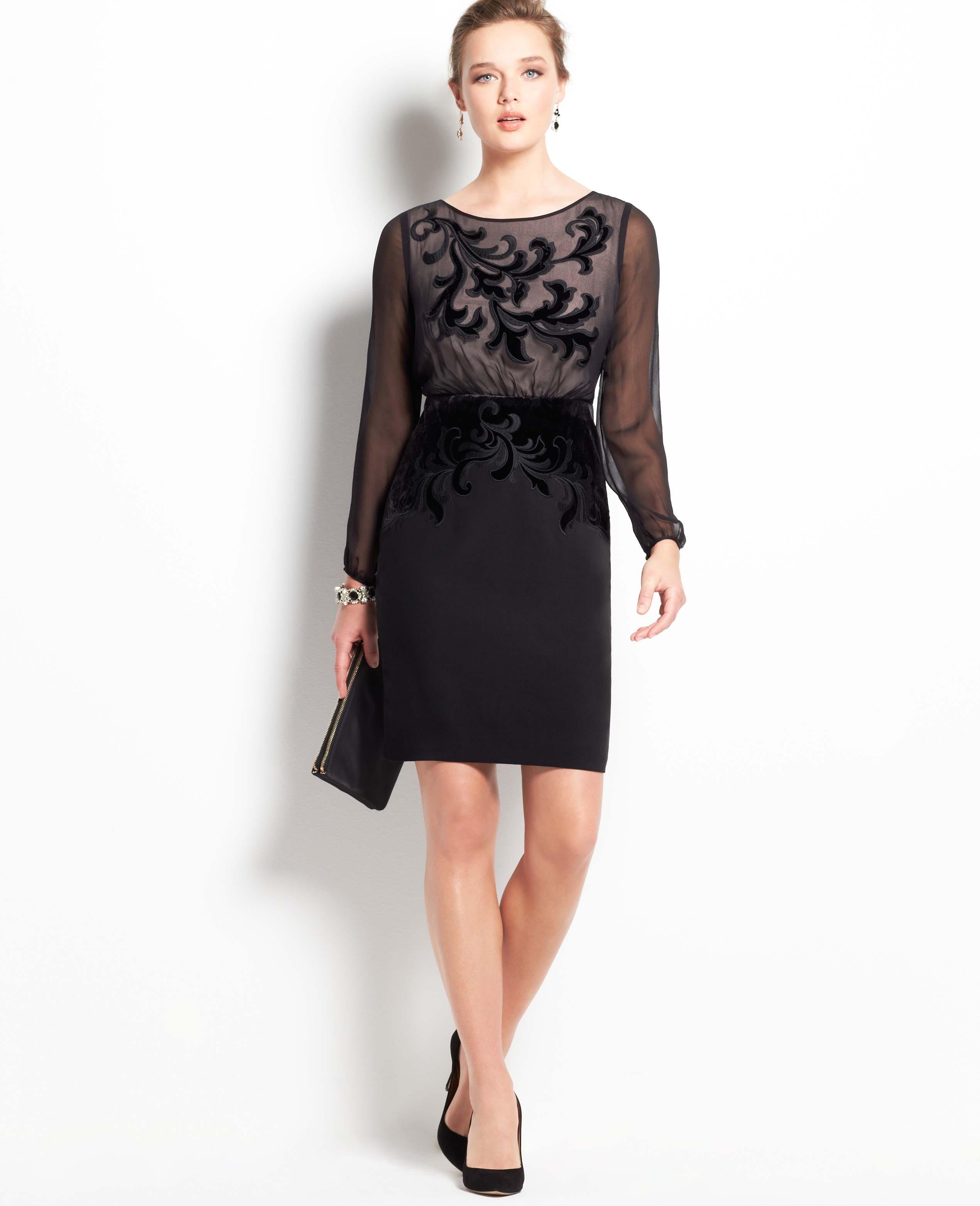 Lyst - Ann Taylor Velvet Scroll Dress in Black