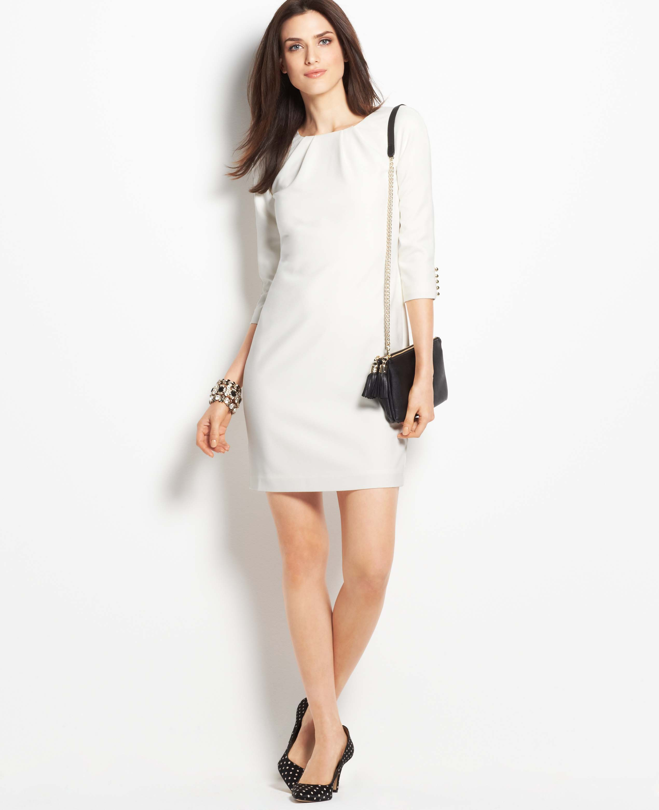 2afe4a55ed50 Lyst - Ann Taylor 34 Button Sleeve Shift Dress in White