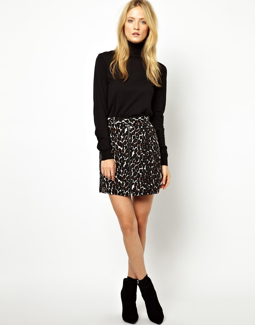 Asos A Line Skirt in Leopard Print in Black | Lyst