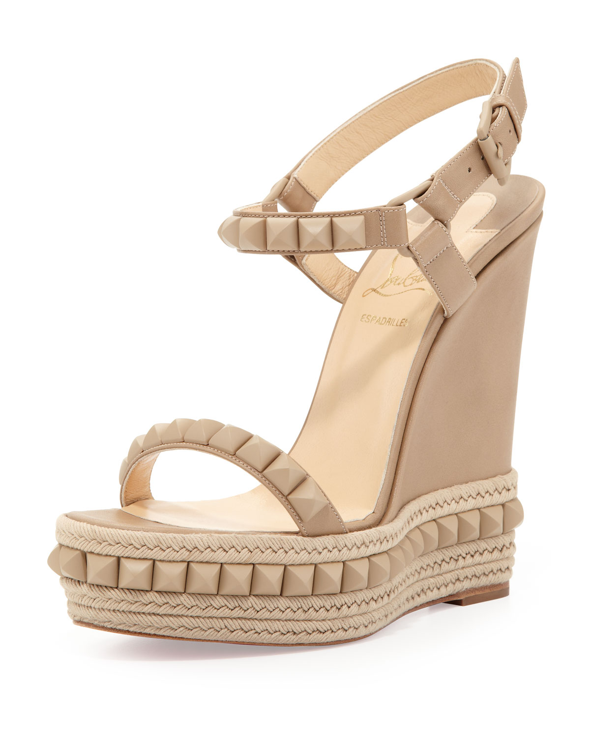 christian louboutin cataclou studded leather wedge sandals