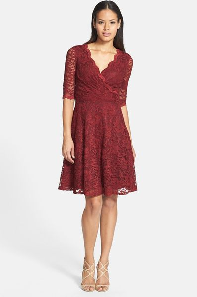 Donna Ricco Lace Fit Flare Dress In Red Garnet Lyst