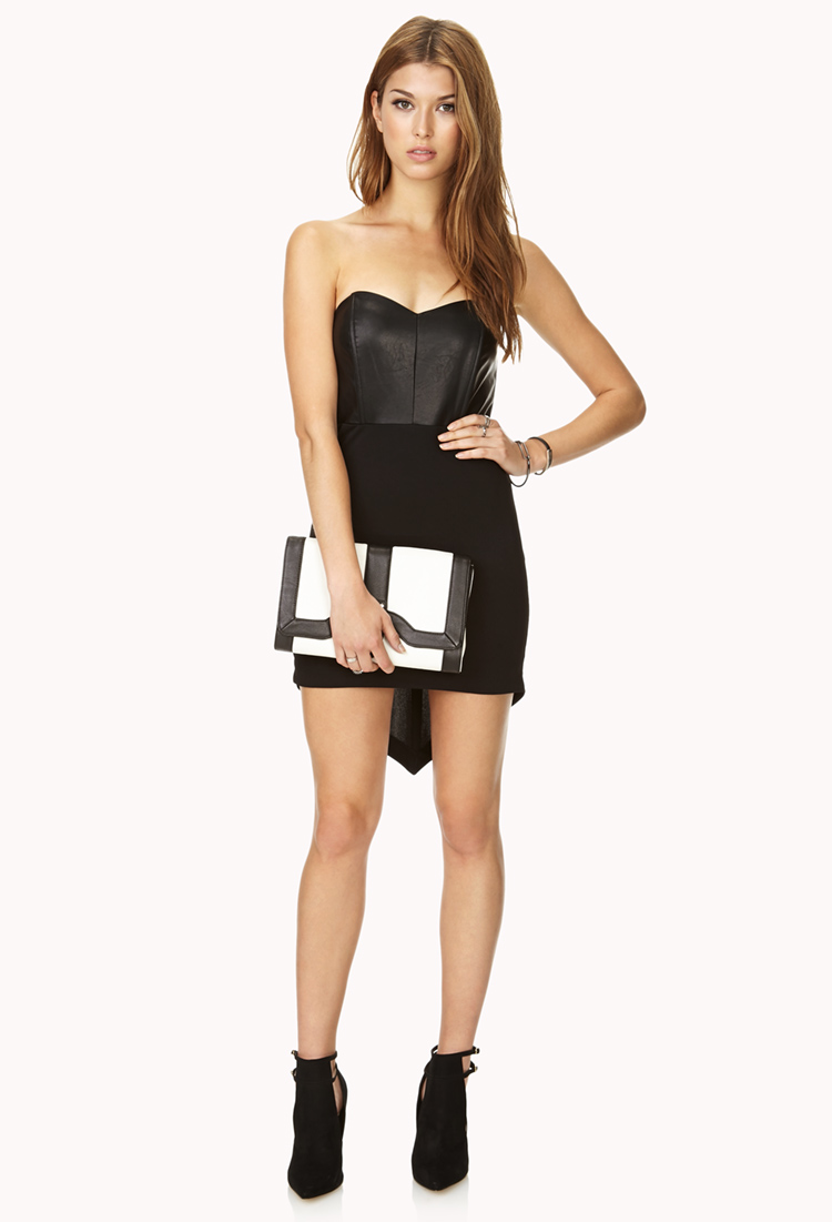 41775a8622b Lyst - Forever 21 Bombshell Faux Leather Tube Dress in Black