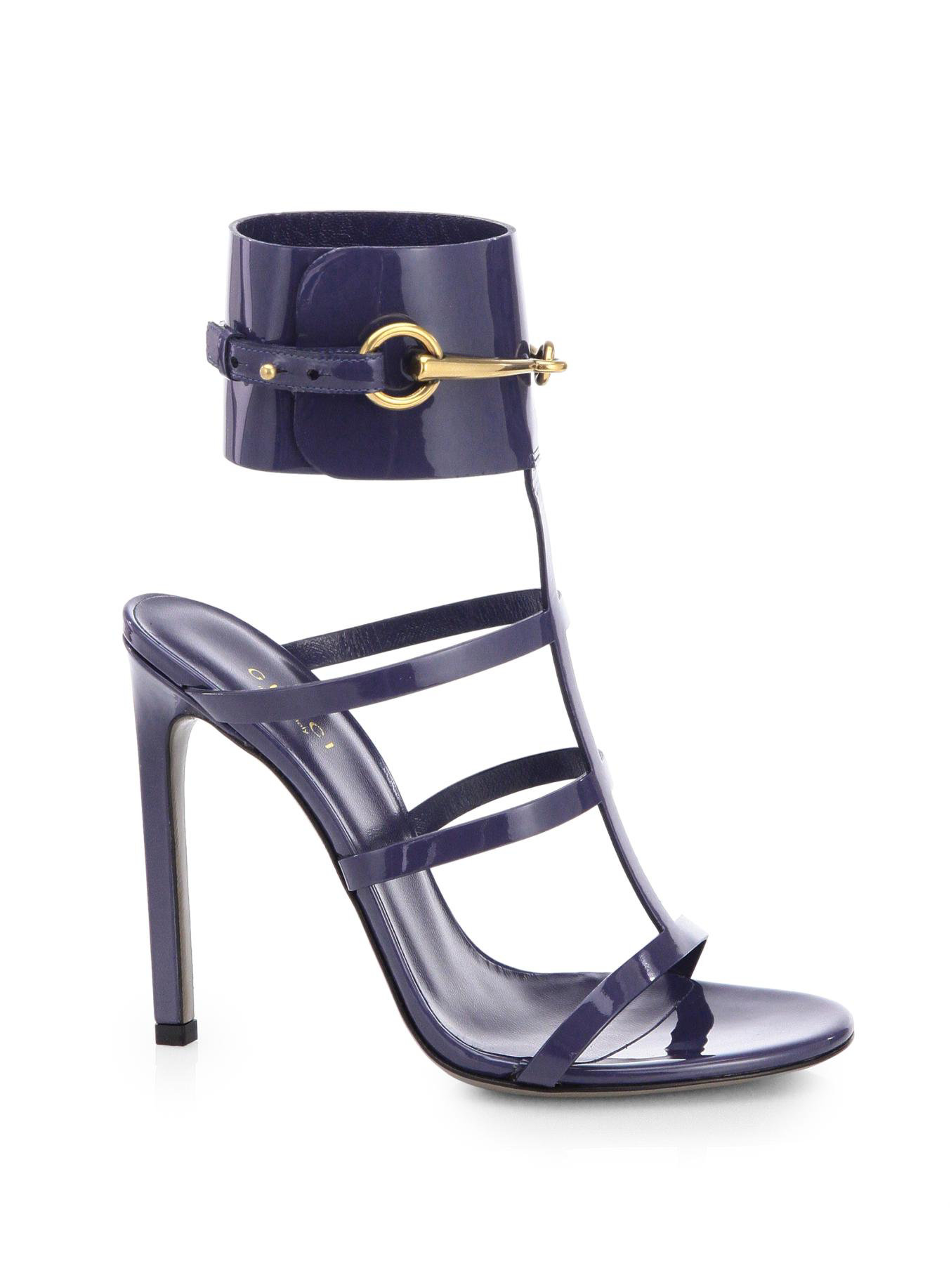 5696005211ee Lyst - Gucci Ursula Patent Leather Horsebit Anklestrap Sandals in Blue