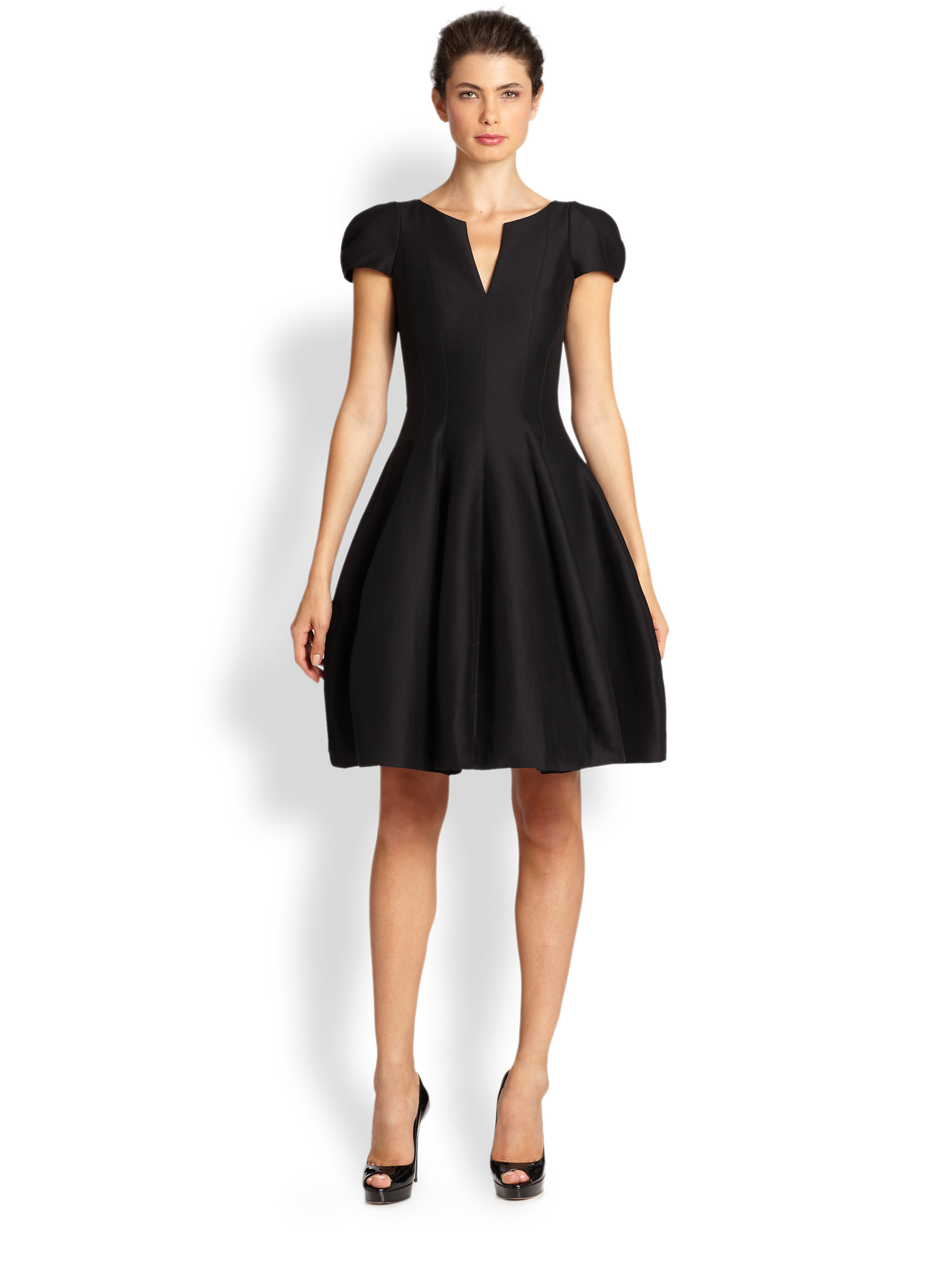Halston Heritage Cap-Sleeve Sateen Dress in Black
