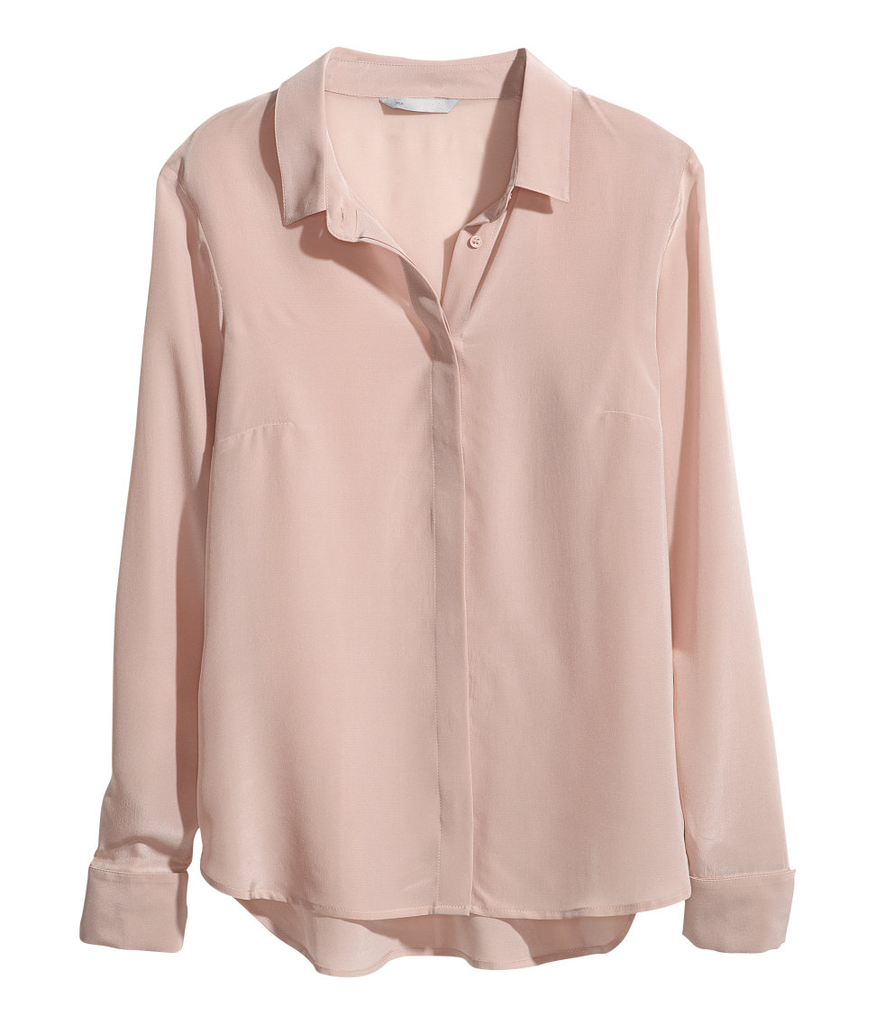 780e9e2640e082 Lyst - H M Silk Blouse in Pink