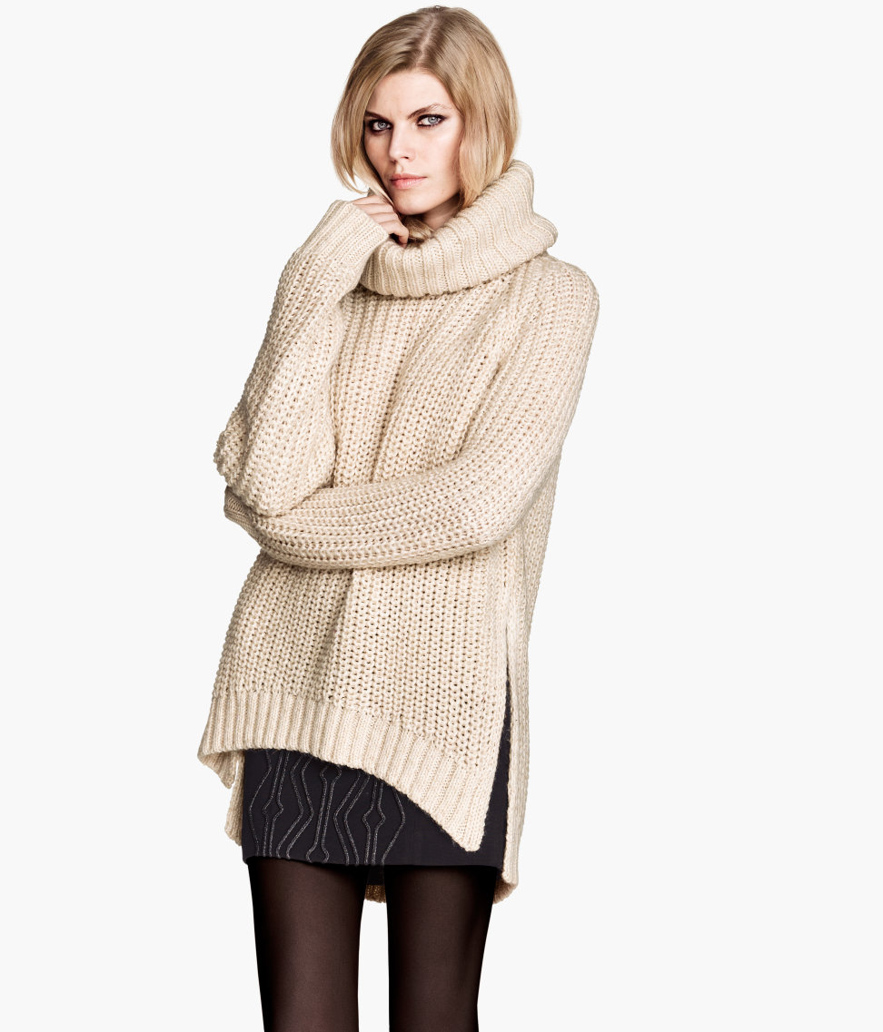 H&m Pattern-knit Polo-neck Jumper in Natural Lyst