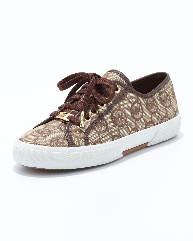 bfc8ef566f32 Lyst - MICHAEL Michael Kors Monogram Canvas Sneaker in Brown