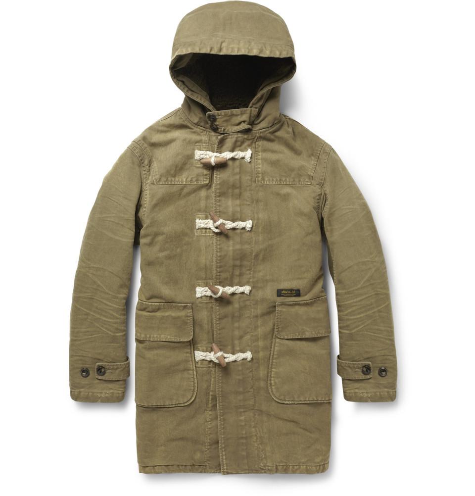 Neighborhood Washed-Cotton Duffle Coat in Green for Men | Lyst