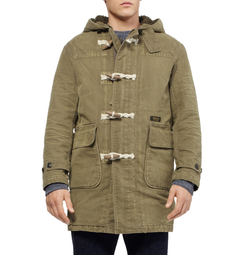 Neighborhood Washed-Cotton Duffle Coat in Green for Men | Lyst