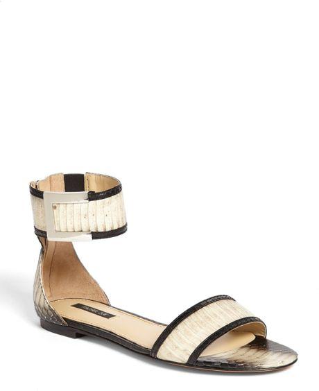 Rachel Zoe Gracie Genuine Snakeskin Sandal In White Black