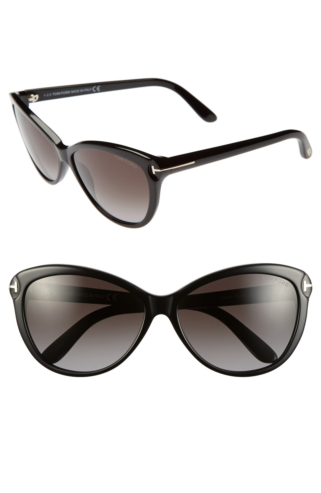 tom ford 39 telma 39 60mm cat eye sunglasses in black shiny black lyst. Cars Review. Best American Auto & Cars Review