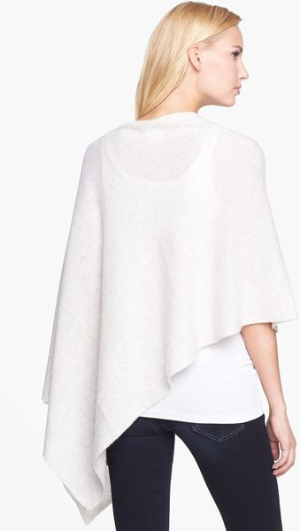 White And Warren Cashmere Poncho Cashmere Poncho in White