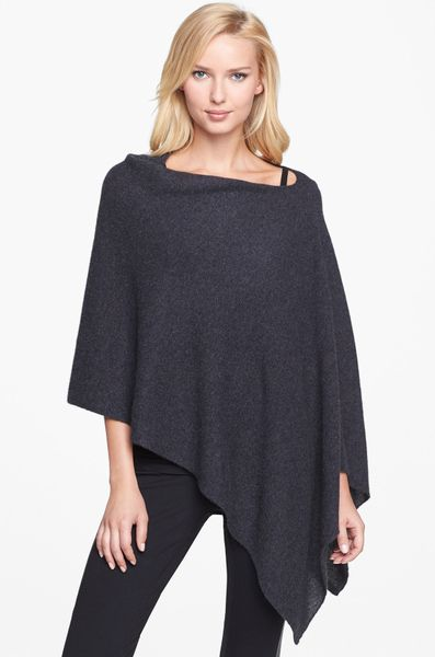 White + Warren Asymmetrical Cashmere Poncho in Black ...