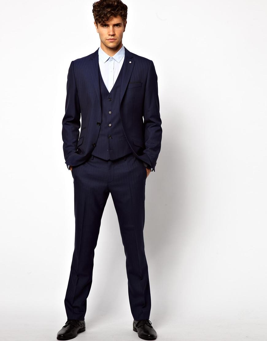 Asos River Island Skinny Fit Suit Pants in Herringbone Blue in ...