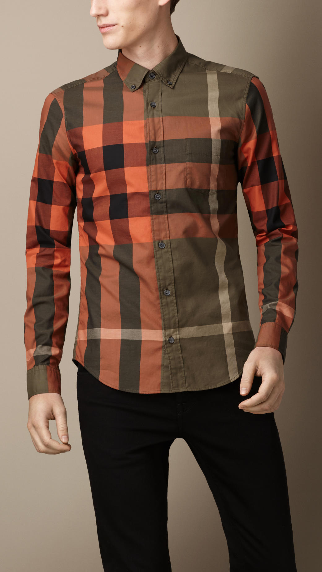 Burberry exploded check cotton shirt for men lyst for Where are burberry shirts made