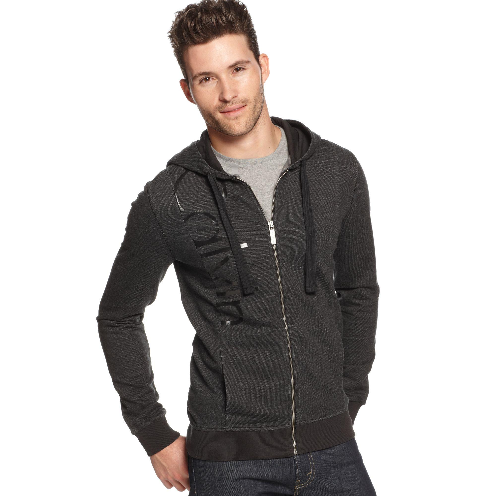 calvin klein jeans zip front logo hoodie in black for men lyst. Black Bedroom Furniture Sets. Home Design Ideas