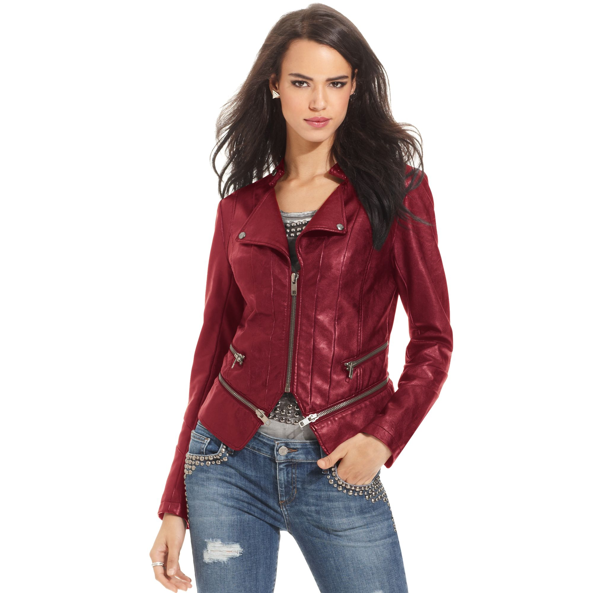 Lyst - Guess Fauxleather Jacket in Red