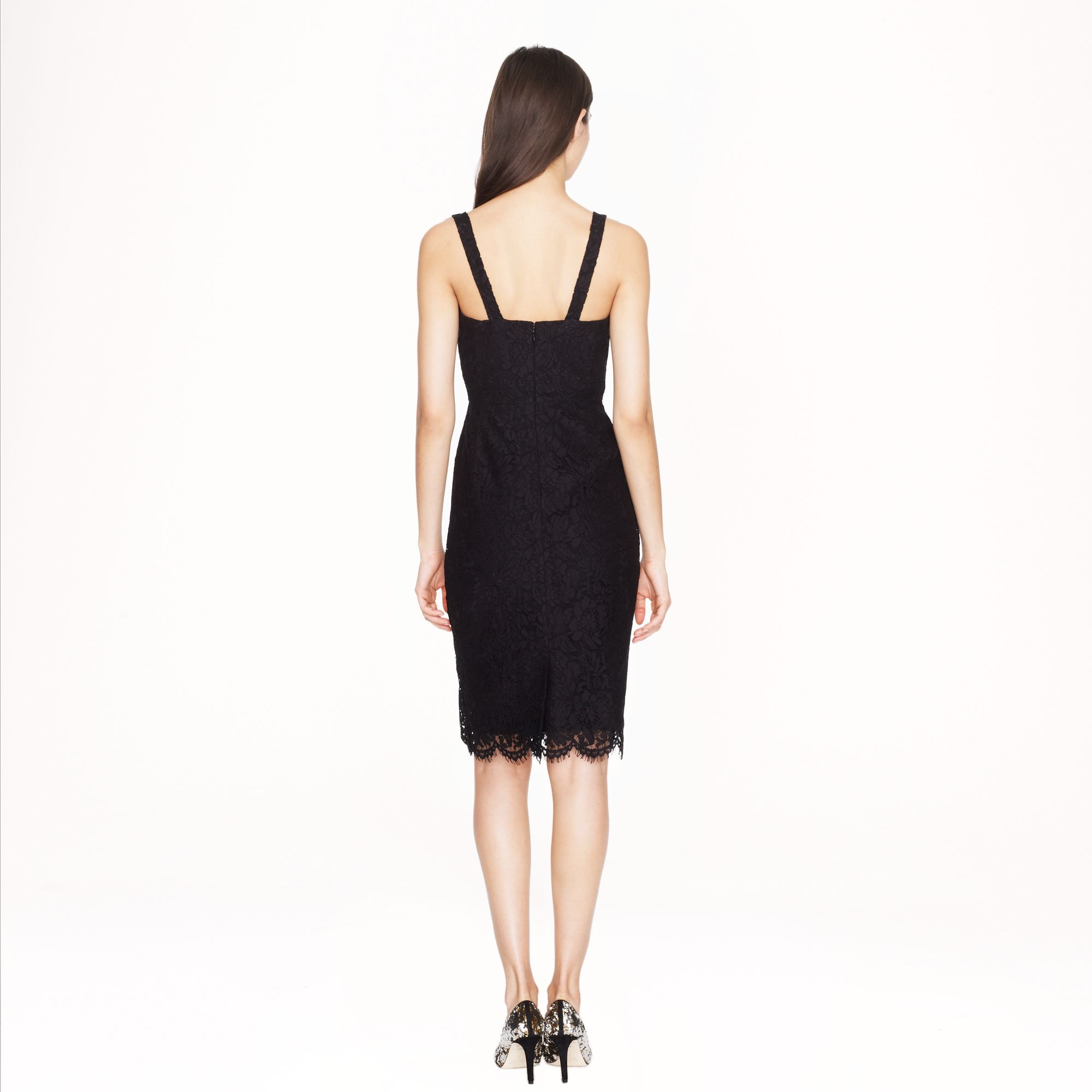 J Crew Collection Scalloped Lace Dress In Black Lyst