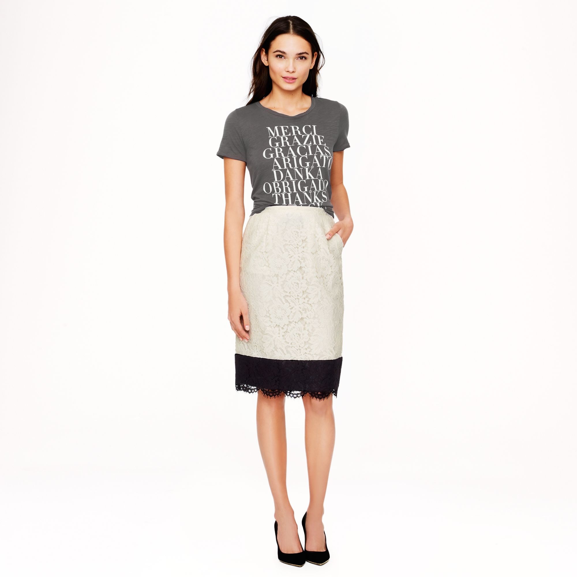 j crew collection colorblock lace pencil skirt in white