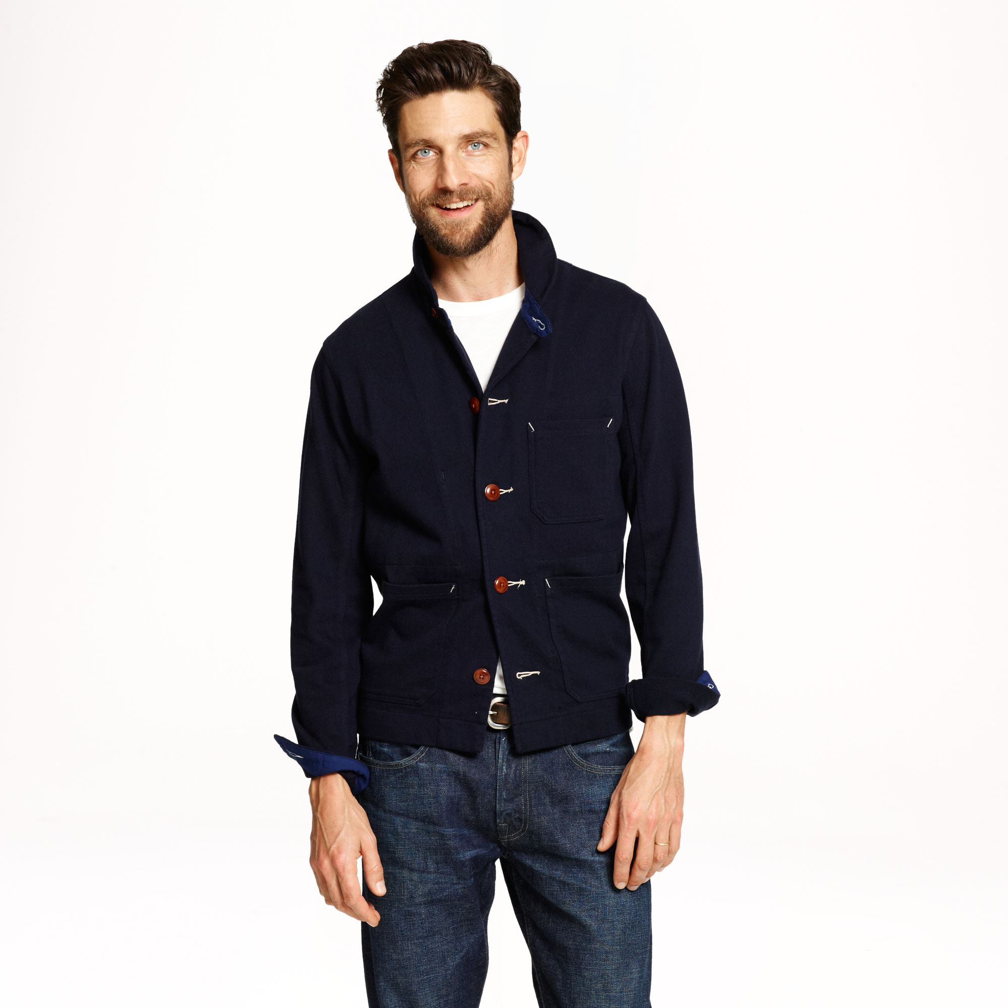 Lyst j crew wallace barnes knit chore coat in blue for men for J crew mens outfits