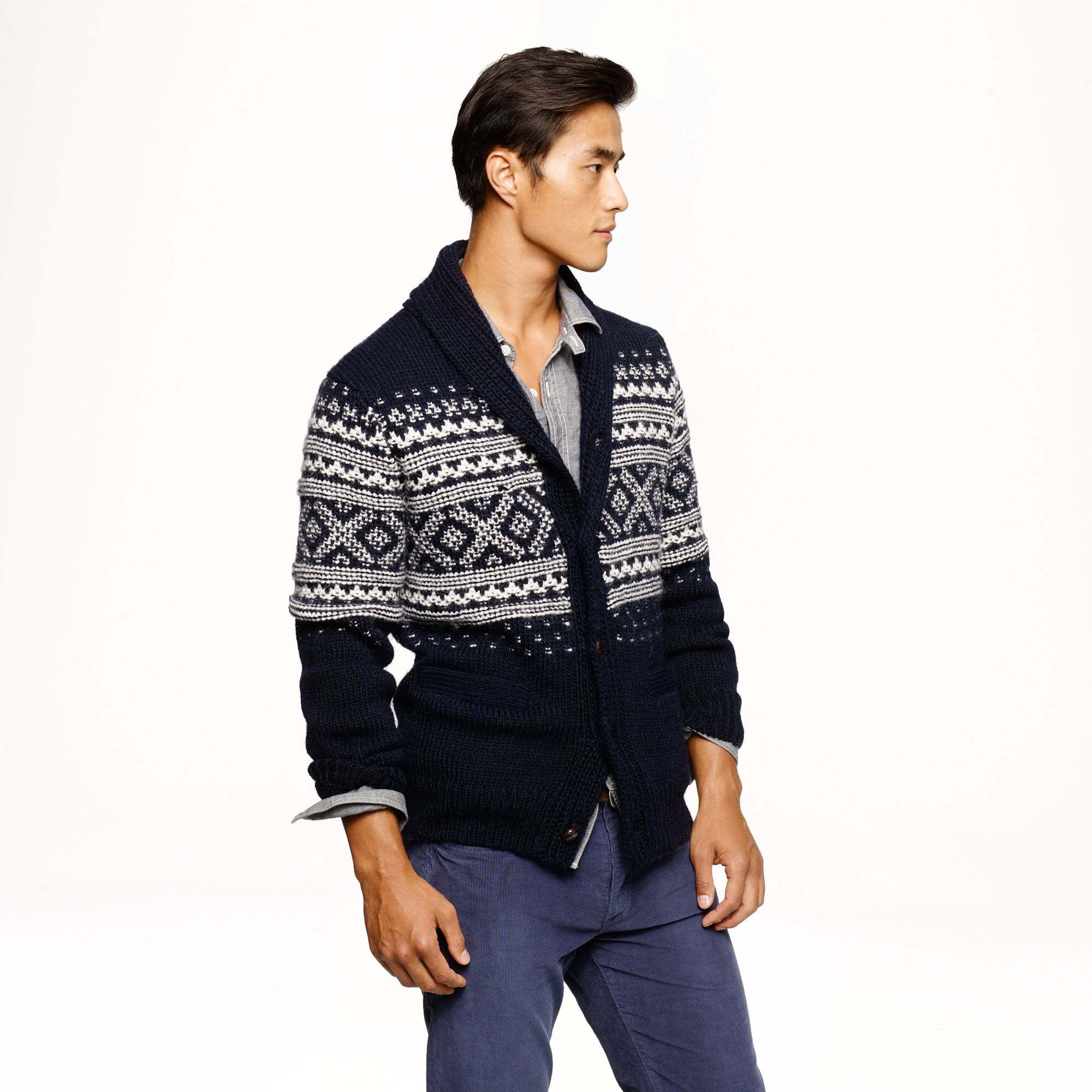 J.crew Fair Isle Shawl Cardigan in Blue for Men | Lyst