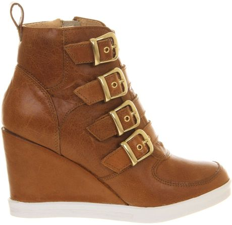 office buckle up wedge ankle boots in brown lyst