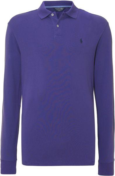 Polo ralph lauren golf classic long sleeve polo shirt in for Long sleeve purple polo shirt