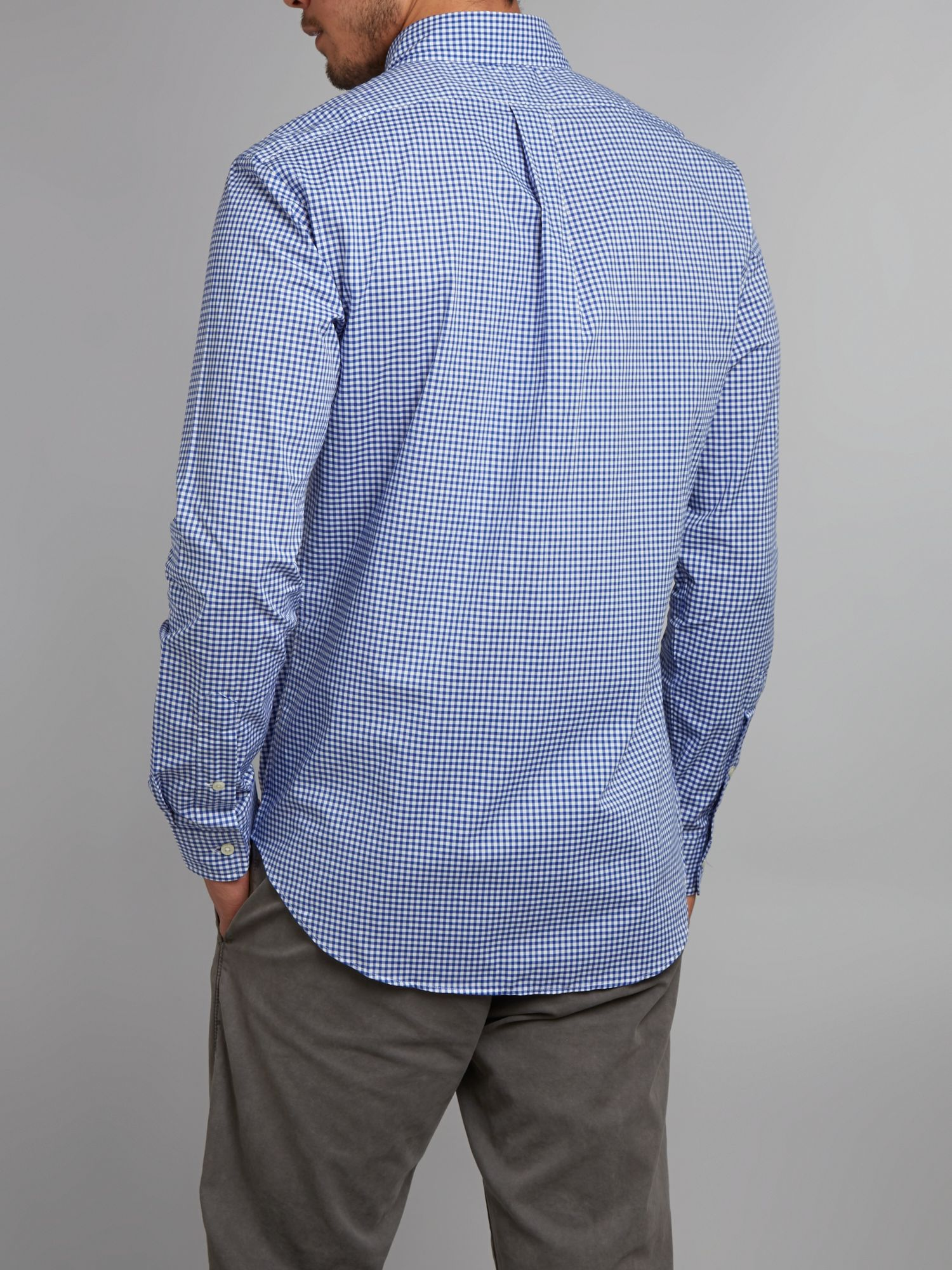Polo ralph lauren slim fit gingham check shirt in blue for for Slim fit gingham check shirt