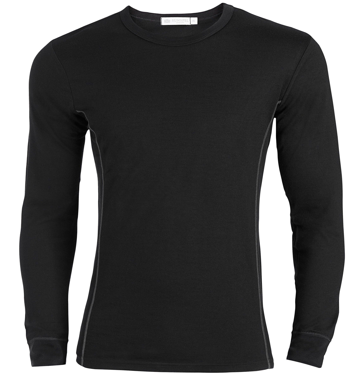 Sunspel merino wool long sleeve t shirt in black for men for Merino wool shirt long sleeve