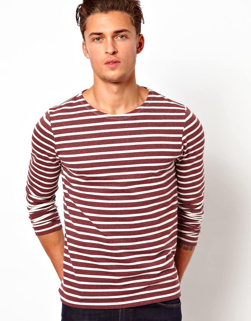 Asos Stripe Long Sleeve T-shirt in Purple for Men | Lyst