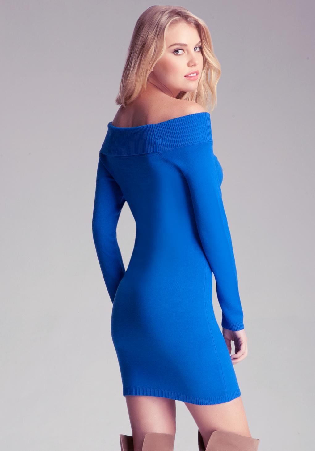 Bebe Off Shoulder Sweater Dress in Blue | Lyst